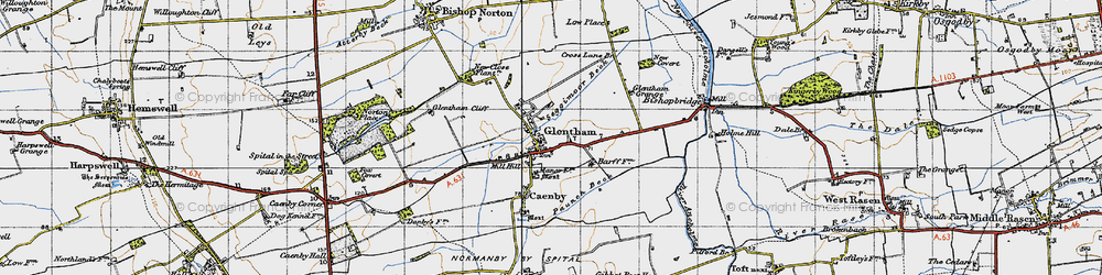 Old map of Glentham in 1947