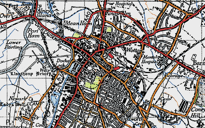 Old map of Gloucester in 1947