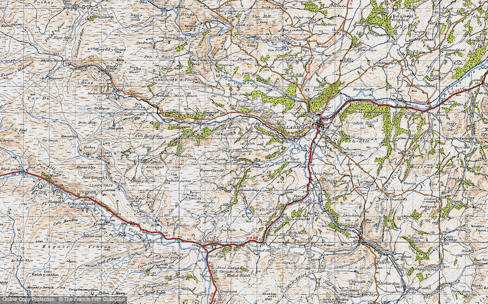 Old Map of Historic Map covering Afon Brochan in 1947