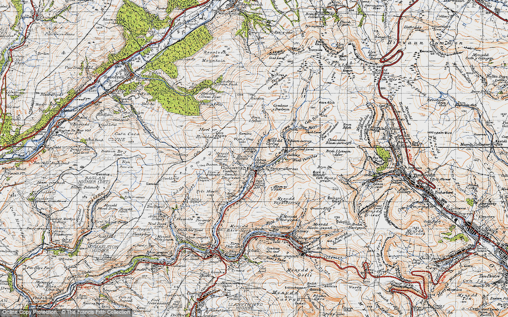 Old Map of Historic Map covering Afon Corrwg Fechan in 1947