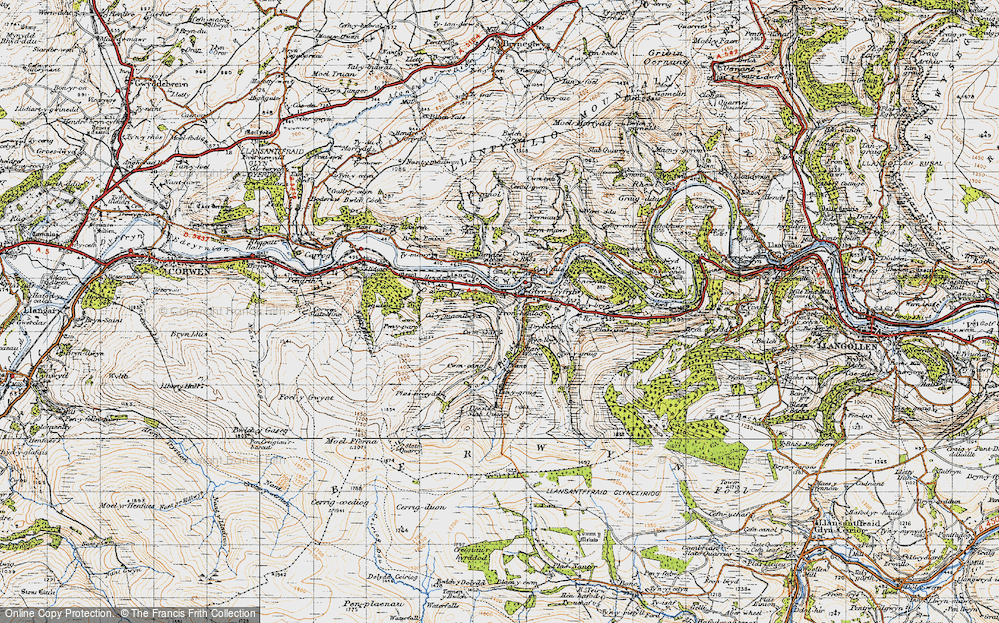 Old Map of Historic Map covering Afon Ro in 1947