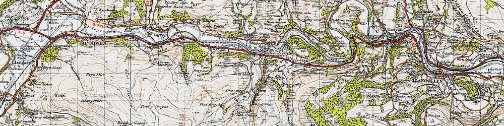 Old map of Glyndyfrdwy in 1947