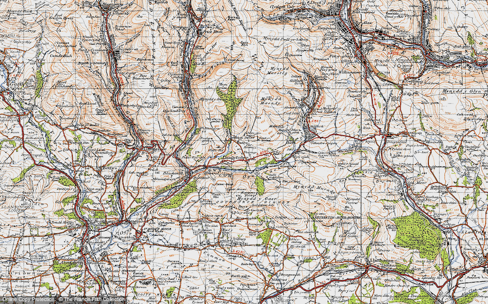 Old Map of Glynogwr, 1947 in 1947