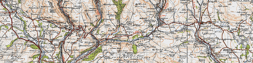Old map of Glynogwr in 1947