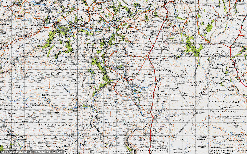 Old Map of Historic Map covering Abbot's Ho in 1947