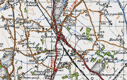 Old map of Gobowen in 1947