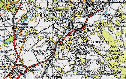 Old map of Godalming in 1940