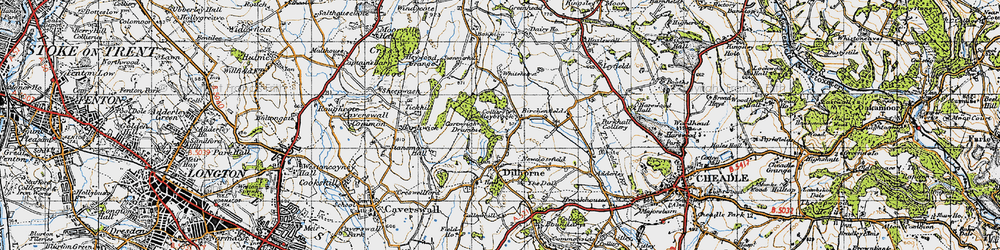 Old map of Whitehurst in 1946