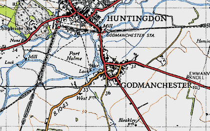 Old map of Godmanchester in 1946
