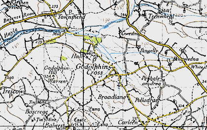 Old map of Godolphin Cross in 1946