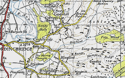 Old map of Godshill in 1940