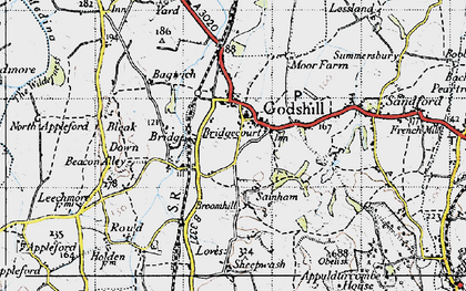 Old map of Bagwich in 1945