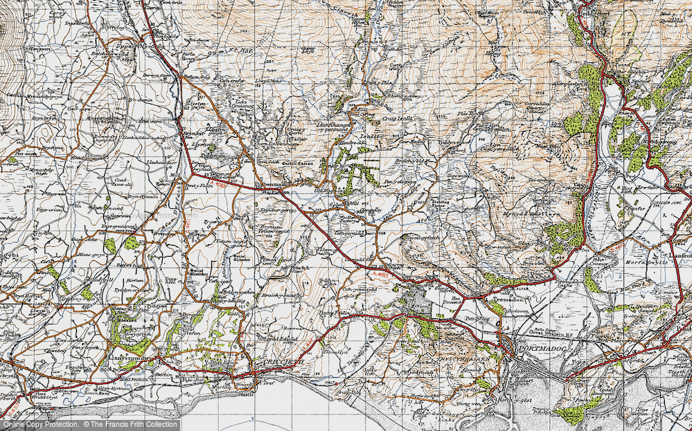 Old Map of Historic Map covering Afon Henwy in 1947