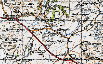 Old map of Afon Henwy in 1947