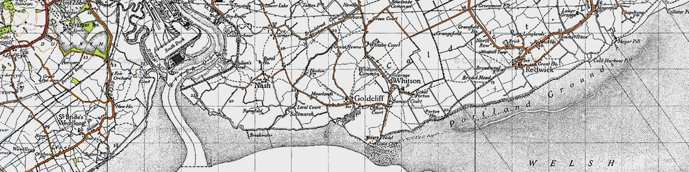 Old map of Goldcliff in 1946