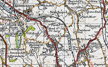 Old map of Goldenhill in 1946