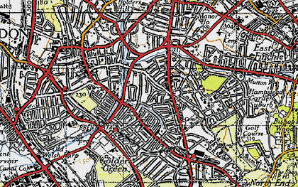 Old map of Golders Green in 1945