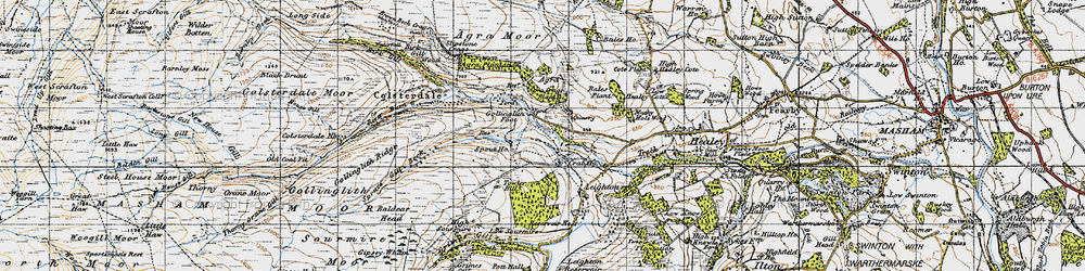 Old map of Agra Crags in 1947