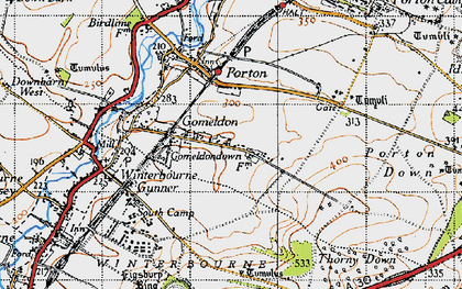 Old map of Gomeldon in 1940