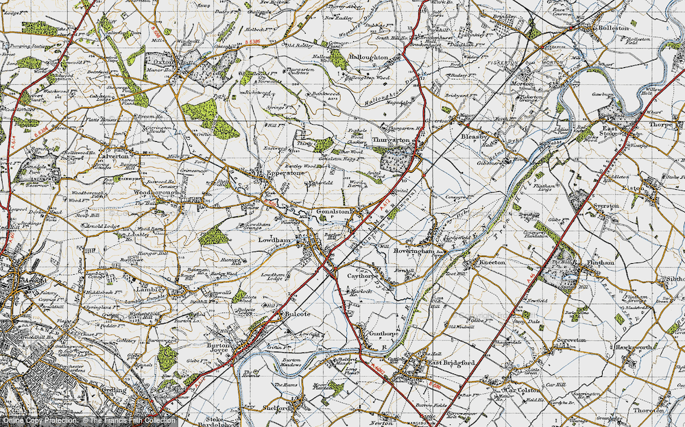 Old Map of Historic Map covering Barker Hill in 1946
