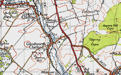 Old map of Augurs Hill Copse in 1945