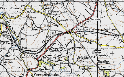 Old map of Goonhavern in 1946