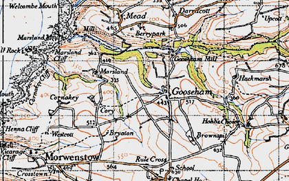 Old map of Gooseham in 1946