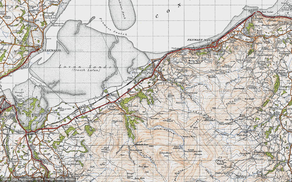 Old Map of Historic Map covering Afon Anafon in 1947