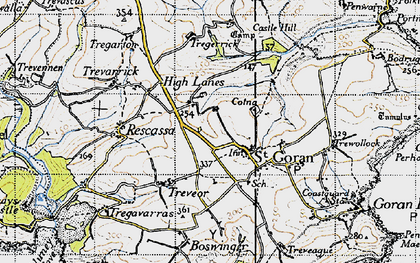 Old map of Gorran Churchtown in 1946