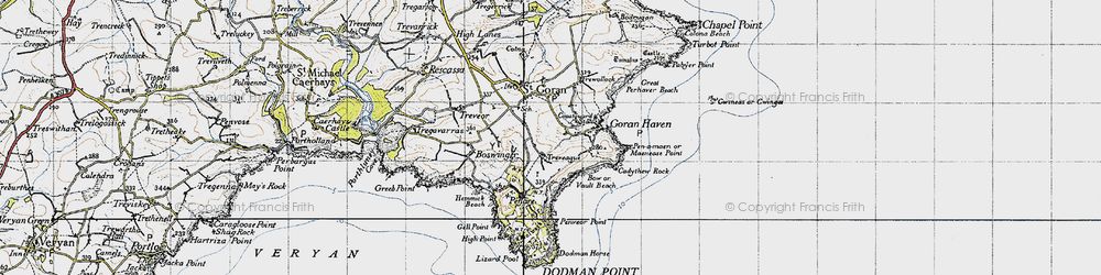 Old map of Gorran Haven in 1946