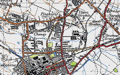 Old map of Gorse Hill in 1947