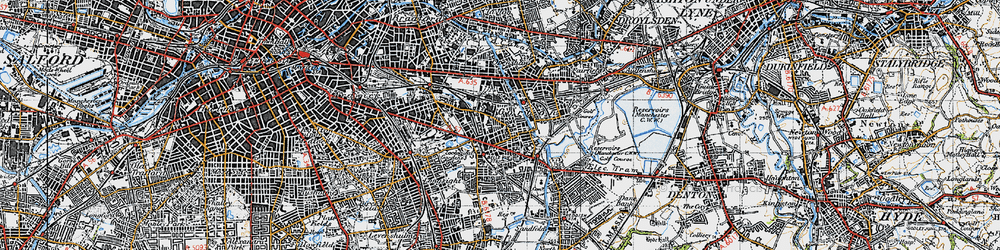 Old map of Gorton in 1947