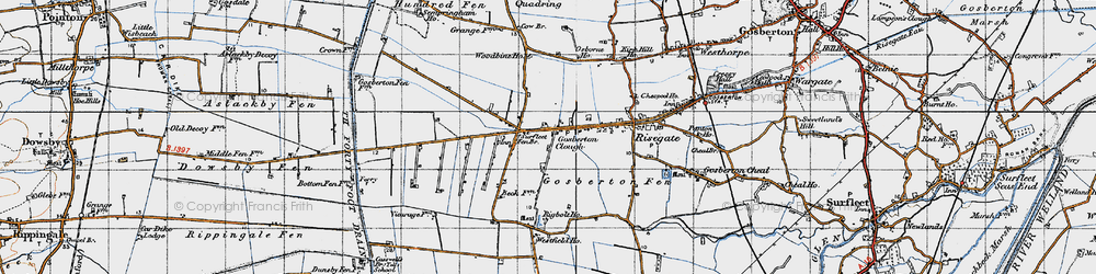 Old map of Woodbine Ho in 1946