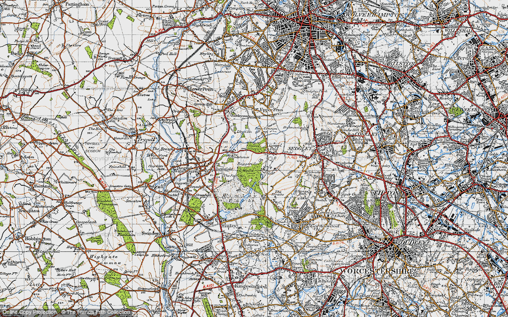 Old Map of Historic Map covering Baggeridge Country Park in 1946