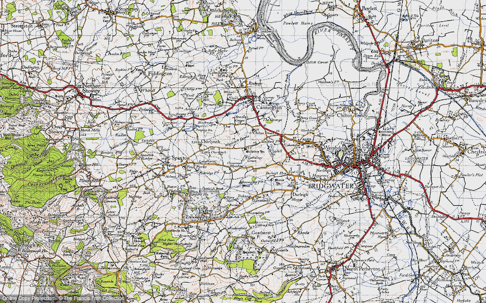 Old Map of Historic Map covering Woodcock Downs in 1946