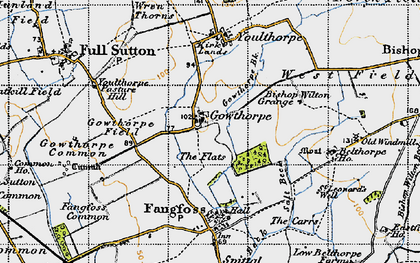 Old map of Youlthorpe Pasture Hill in 1947