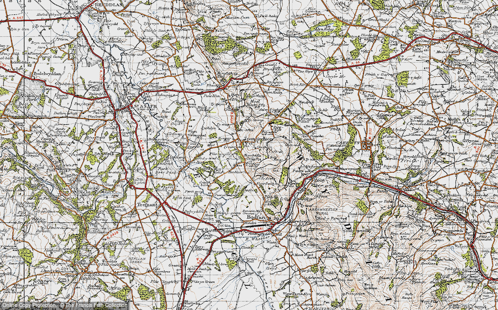 Old Map of Historic Map covering Bâch-y-graig in 1947