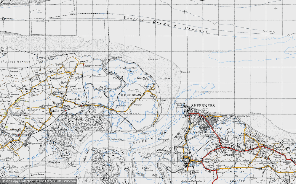 Old Map of Historic Map covering Lees Marshes in 1946