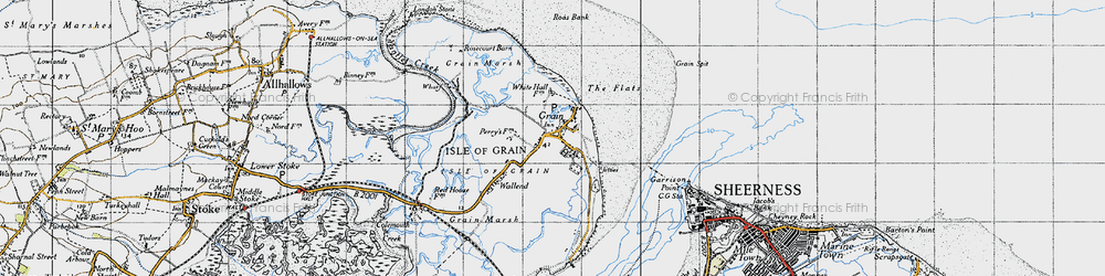 Old map of Isle of Grain in 1946