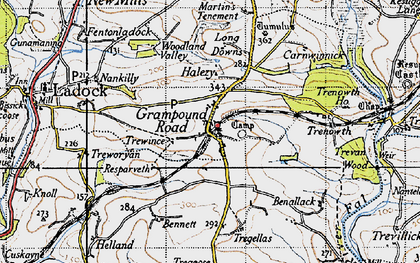 Old map of Grampound Road in 1946