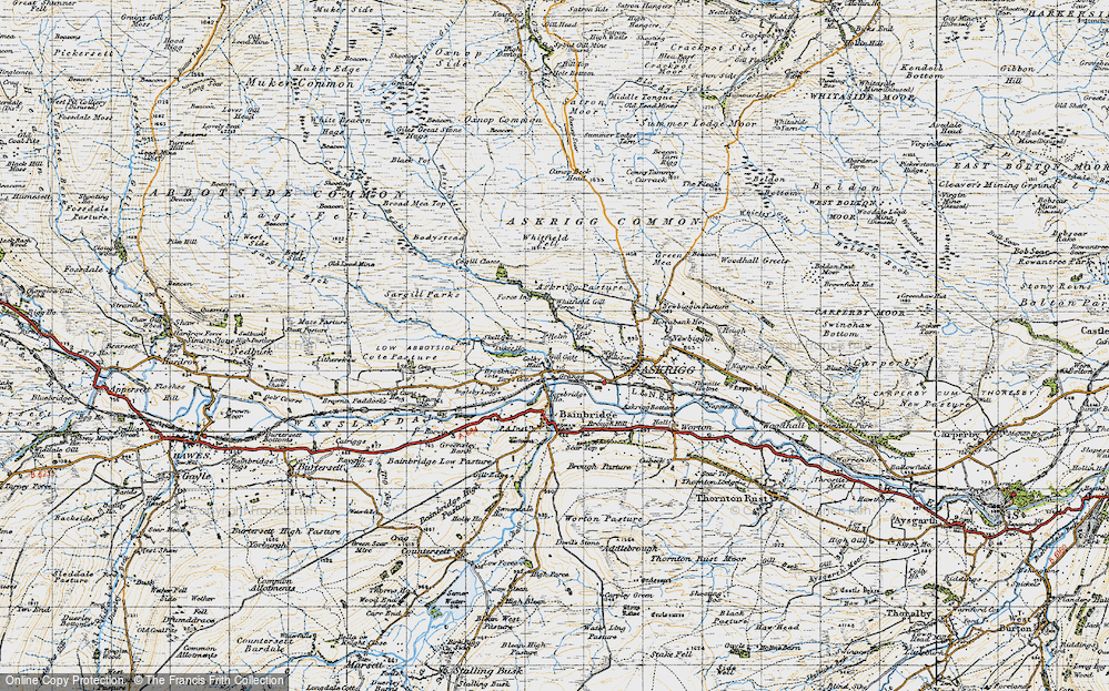 Old Map of Historic Map covering Askrigg Pasture in 1947