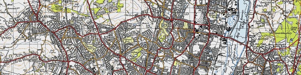 Old map of Grange Park in 1946