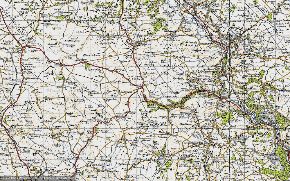 Old Map of Historic Map covering Leys in 1947