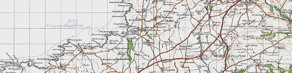 Old map of Aber Bach in 1947