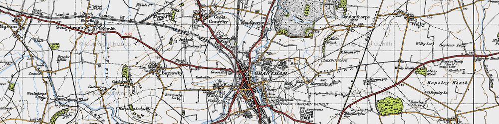 Old map of Grantham in 1946