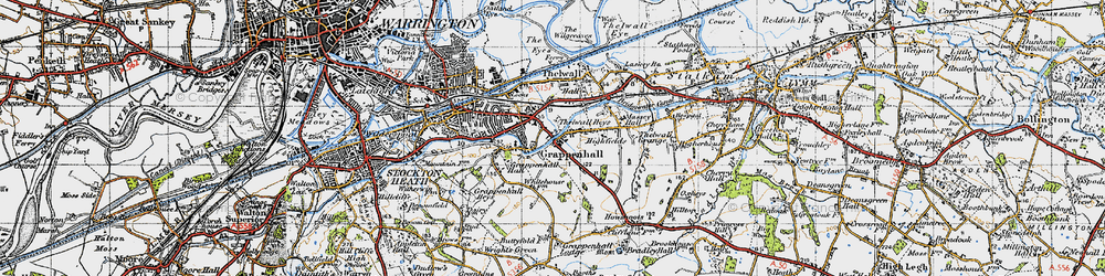 Old map of Grappenhall in 1947