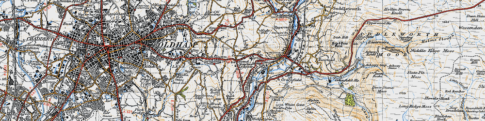Old map of Grasscroft in 1947