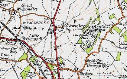 Old map of Graveley in 1946