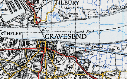 Old map of Gravesend in 1946