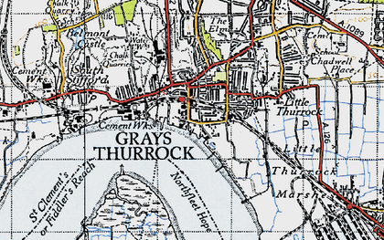 Old map of Grays in 1946